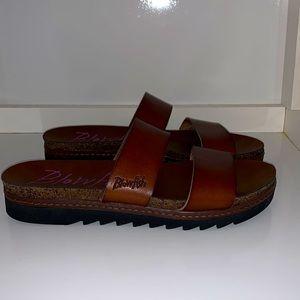 Blowfish brown leather slides sandals size 8